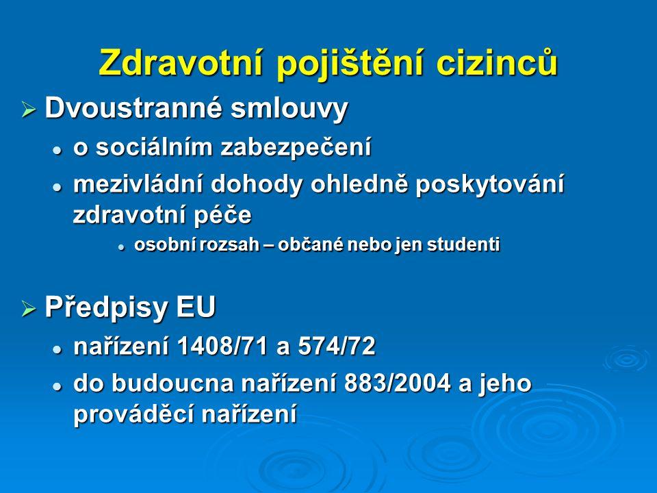 Zdravotní pojištění cizinců  Dvoustranné smlouvy o sociálním zabezpečení o sociálním zabezpečení mezivládní dohody ohledně poskytování zdravotní péče mezivládní dohody ohledně poskytování zdravotní péče osobní rozsah – občané nebo jen studenti osobní rozsah – občané nebo jen studenti  Předpisy EU nařízení 1408/71 a 574/72 nařízení 1408/71 a 574/72 do budoucna nařízení 883/2004 a jeho prováděcí nařízení do budoucna nařízení 883/2004 a jeho prováděcí nařízení