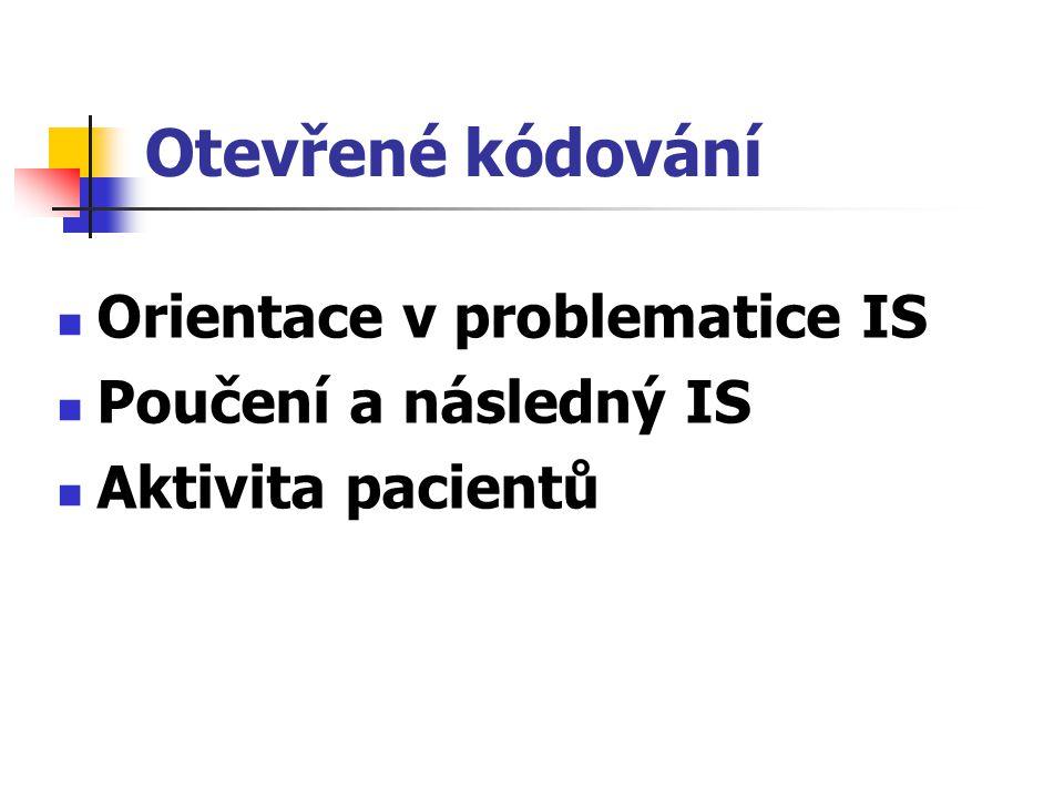 Otevřené kódování Orientace v problematice IS Poučení a následný IS Aktivita pacientů