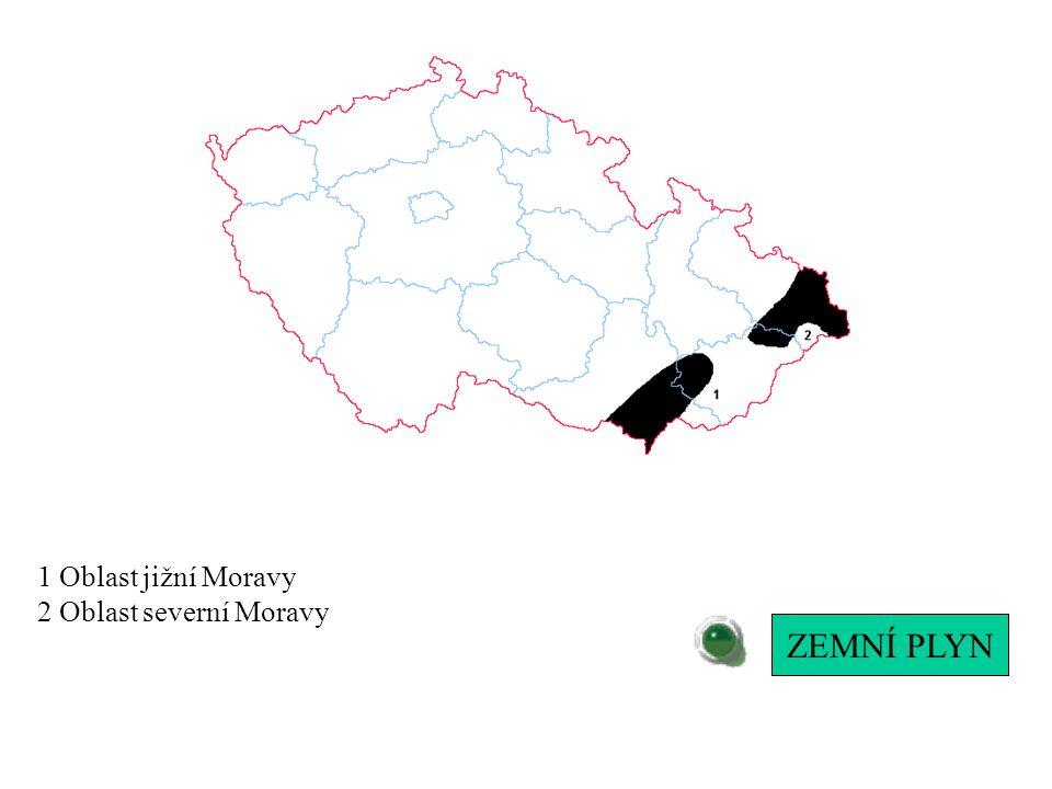 1 Oblast jižní Moravy 2 Oblast severní Moravy ZEMNÍ PLYN