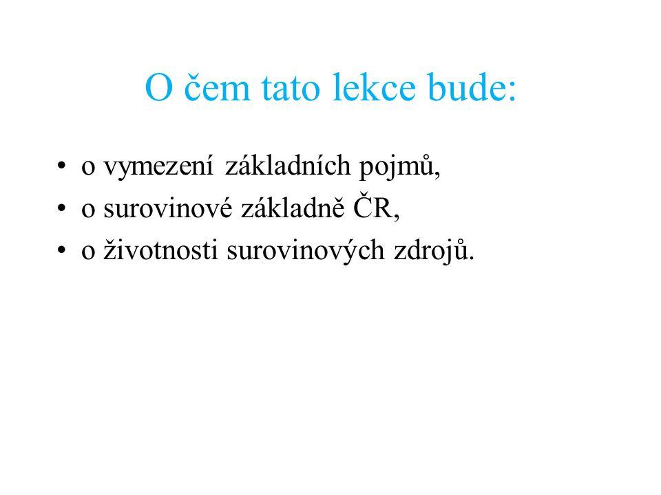 O čem tato lekce bude: o vymezení základních pojmů, o surovinové základně ČR, o životnosti surovinových zdrojů.