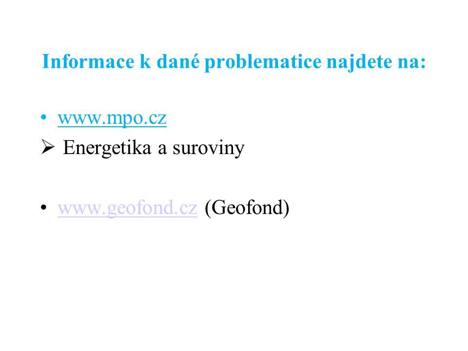 Informace k dané problematice najdete na: www.mpo.cz  Energetika a suroviny www.geofond.cz (Geofond)www.geofond.cz