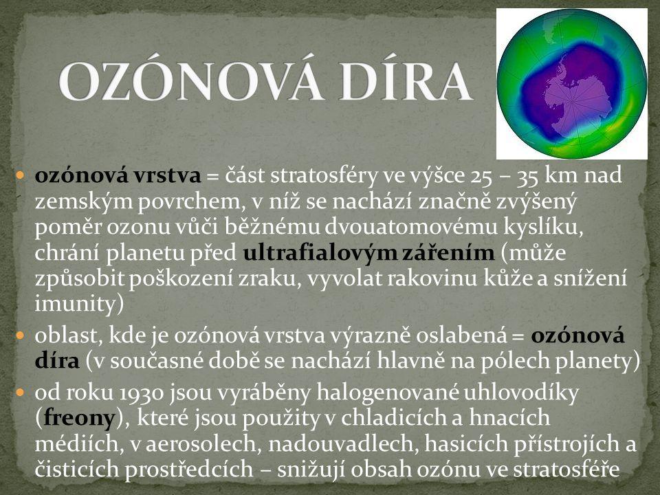 ozónová vrstva = část stratosféry ve výšce 25 – 35 km nad zemským povrchem, v níž se nachází značně zvýšený poměr ozonu vůči běžnému dvouatomovému kys