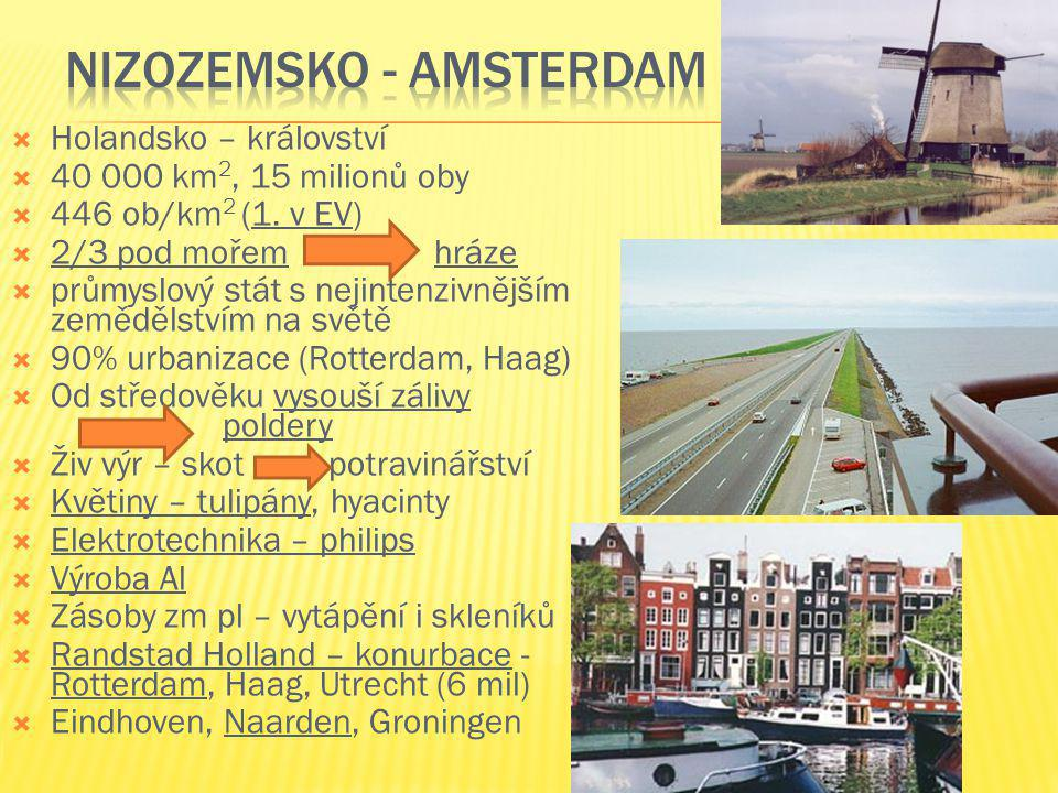  Holandsko – království  40 000 km 2, 15 milionů oby  446 ob/km 2 (1. v EV)  2/3 pod mořemhráze  průmyslový stát s nejintenzivnějším zemědělstvím