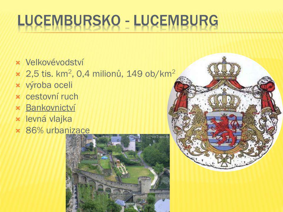  Velkovévodství  2,5 tis. km 2, 0,4 milionů, 149 ob/km 2  výroba oceli  cestovní ruch  Bankovnictví  levná vlajka  86% urbanizace