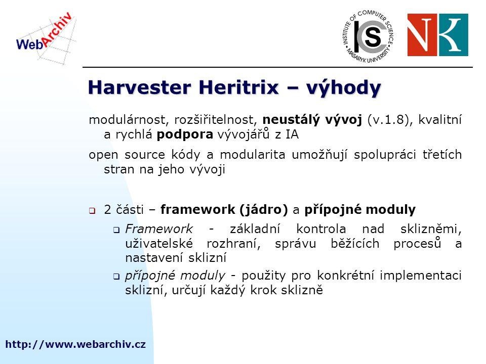 http://www.webarchiv.cz Harvester Heritrix – výhody modulárnost, rozšiřitelnost, neustálý vývoj (v.1.8), kvalitní a rychlá podpora vývojářů z IA open source kódy a modularita umožňují spolupráci třetích stran na jeho vývoji  2 části – framework (jádro) a přípojné moduly  Framework - základní kontrola nad sklizněmi, uživatelské rozhraní, správu běžících procesů a nastavení sklizní  přípojné moduly - použity pro konkrétní implementaci sklizní, určují každý krok sklizně