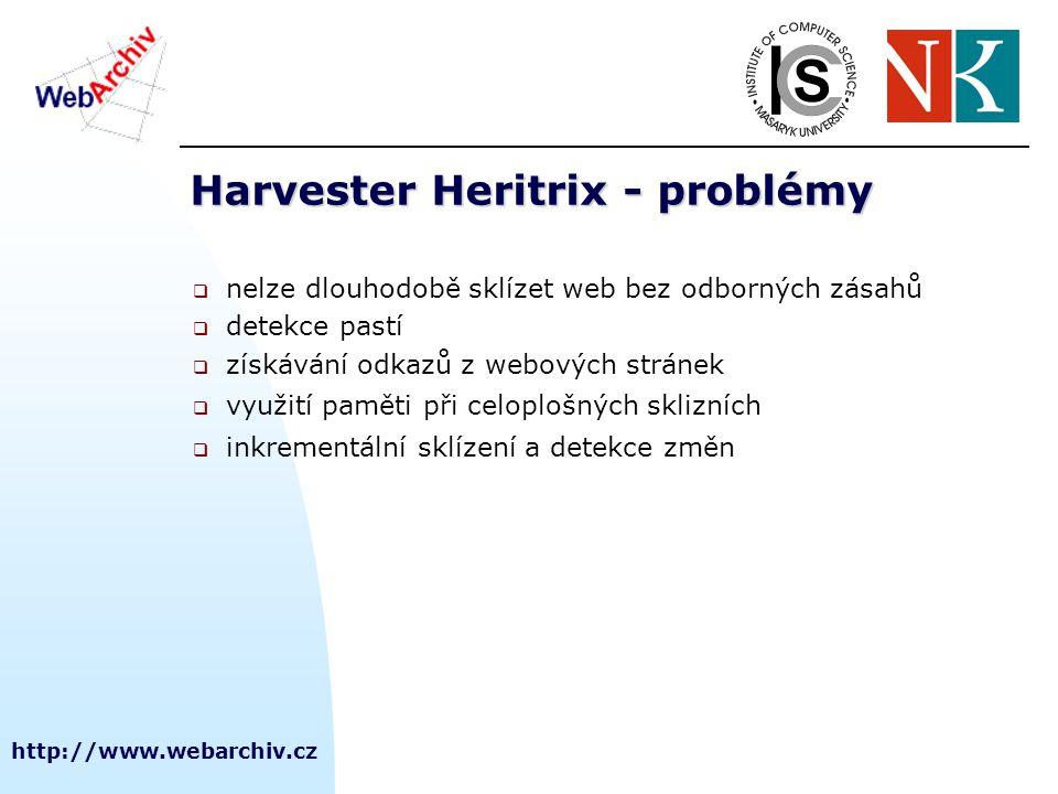 http://www.webarchiv.cz Harvester Heritrix - problémy  nelze dlouhodobě sklízet web bez odborných zásahů  detekce pastí  získávání odkazů z webových stránek  využití paměti při celoplošných sklizních  inkrementální sklízení a detekce změn