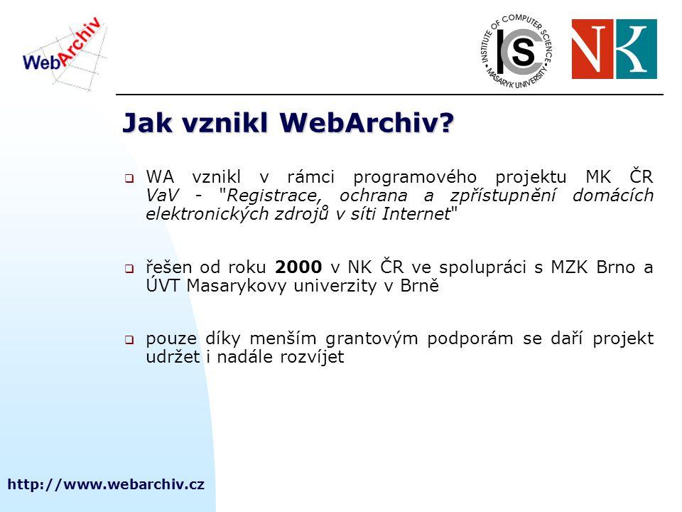 http://www.webarchiv.cz SW pro zpřístupnění  výrazný kvalitativní posun NutchWAX Nutch  fulltextové indexování dokumentů - systém NutchWAX, nástavba nad vyhledávacím rozhraním Nutch  WERA  WERA (následník NWA tools) - uživatelské rozhraní pro zobrazování dokumentů (www rozhraní) – kompletně zvládá češtinu  ARCWayback  ARCWayback vytváří index nad celým umožňující přístup do archivu podle URL a času