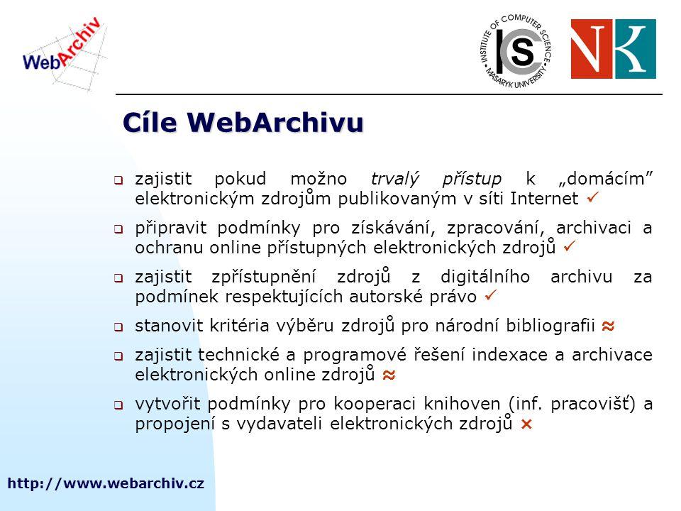 http://www.webarchiv.cz Kritéria výběru webových zdrojů    množství online dokumentů je obrovské, kvalita různá  nutno aplikovat kritéria výběru  uchovat dokumenty, které mají dokumentární hodnotu Pro akvizici (harvesting) zdrojů se aplikují dva přístupy: 1.