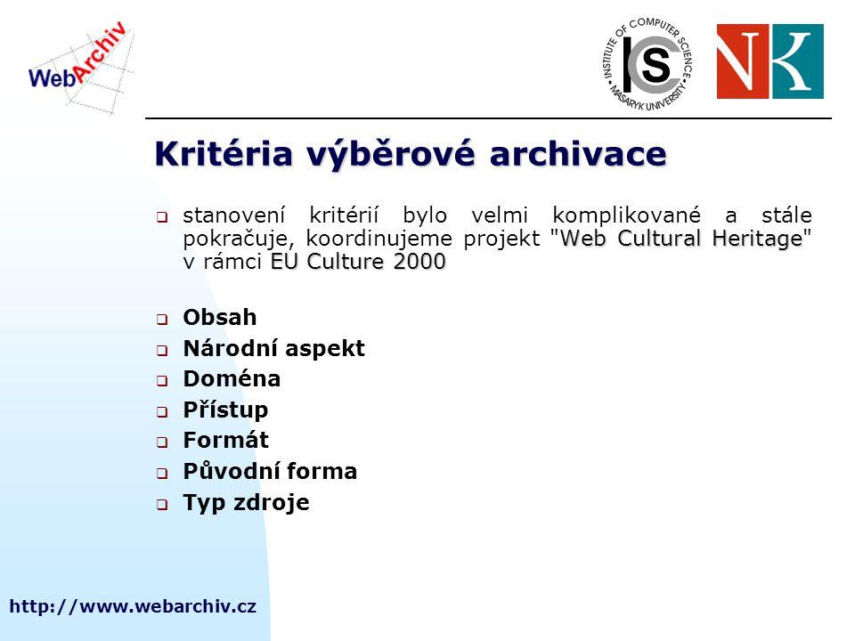 http://www.webarchiv.cz Co máme za sebou  průběžné testování:  SW nástrojů s využitím HW pořízeného v rámci finančních možností  tj.