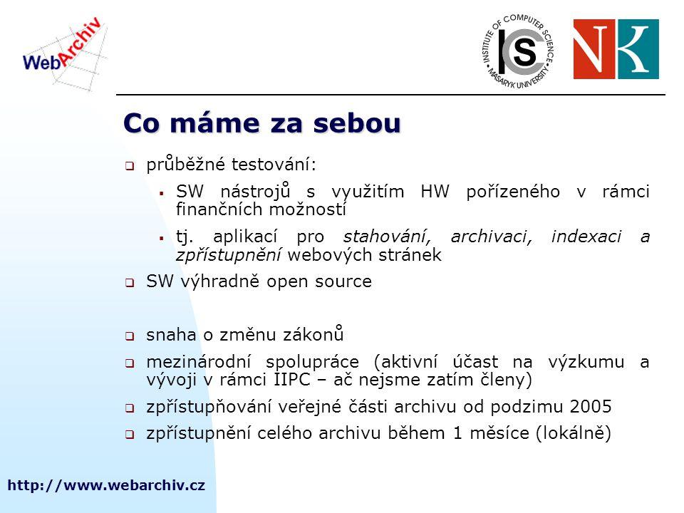 http://www.webarchiv.cz Provedené sklizně domény.cz  2001 první pokus o plošnou sklizeň domény.cz, 1 stroj + páskový robot, cz2001 obsahuje přes 3 mil.