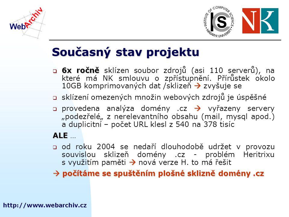 http://www.webarchiv.cz Současný stav projektu  6x ročně   6x ročně sklízen soubor zdrojů (asi 110 serverů), na které má NK smlouvu o zpřístupnění.