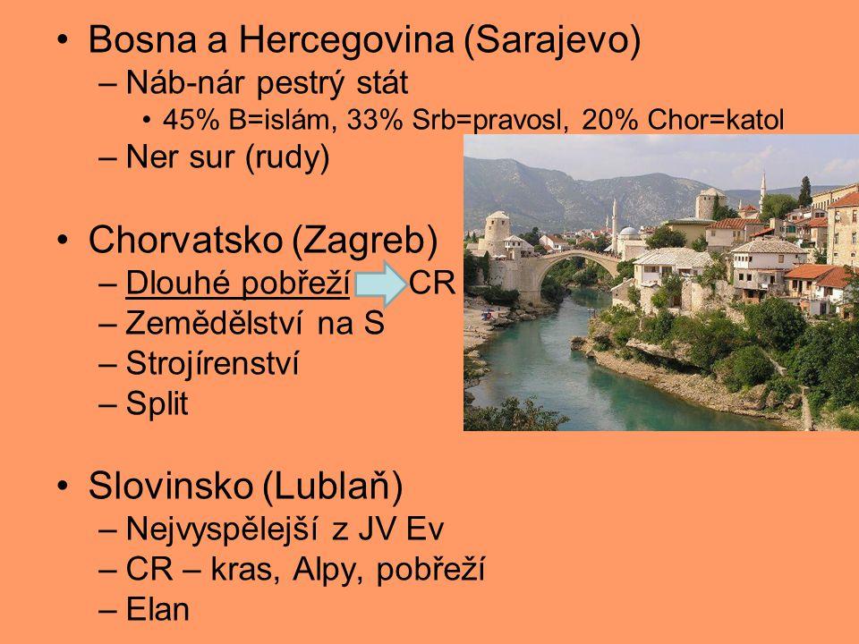 Bosna a Hercegovina (Sarajevo) –Náb-nár pestrý stát 45% B=islám, 33% Srb=pravosl, 20% Chor=katol –Ner sur (rudy) Chorvatsko (Zagreb) –Dlouhé pobřeží CR –Zemědělství na S –Strojírenství –Split Slovinsko (Lublaň) –Nejvyspělejší z JV Ev –CR – kras, Alpy, pobřeží –Elan