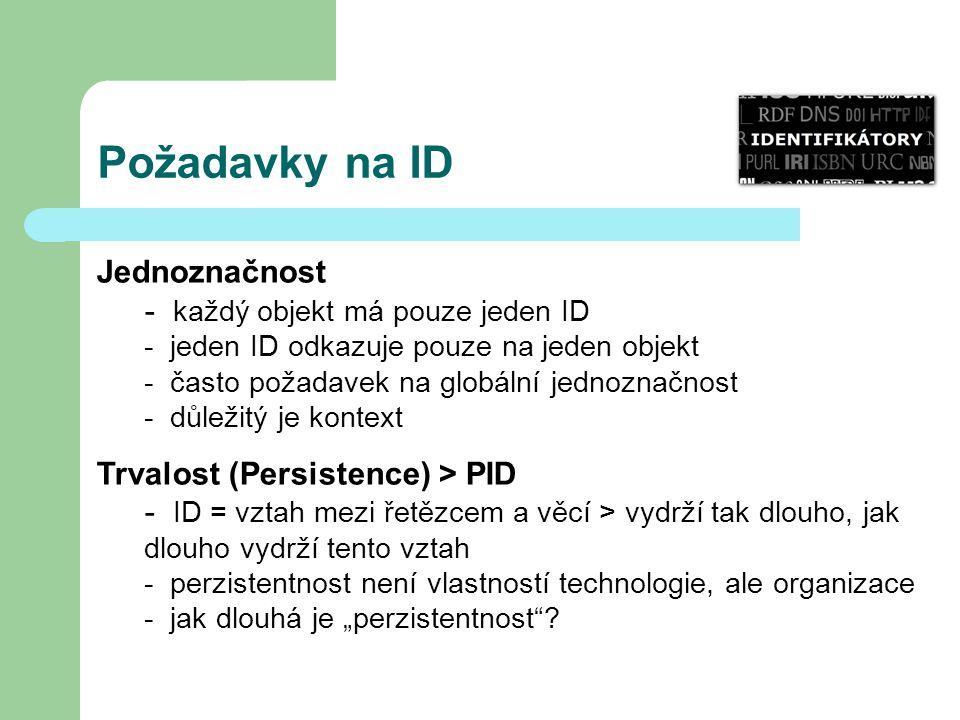 Požadavky na ID Jednoznačnost - každý objekt má pouze jeden ID - jeden ID odkazuje pouze na jeden objekt - často požadavek na globální jednoznačnost -