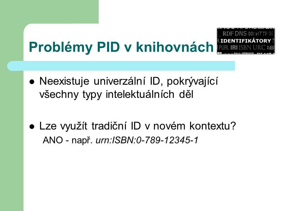 Problémy PID v knihovnách Neexistuje univerzální ID, pokrývající všechny typy intelektuálních děl Lze využít tradiční ID v novém kontextu? ANO - např.