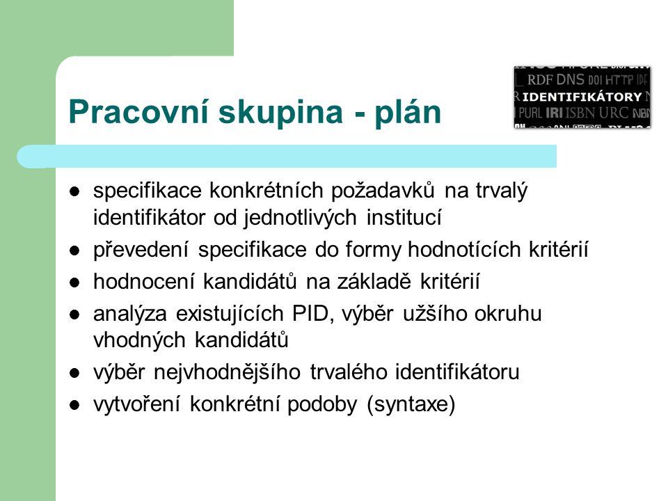 Pracovní skupina - plán specifikace konkrétních požadavků na trvalý identifikátor od jednotlivých institucí převedení specifikace do formy hodnotících