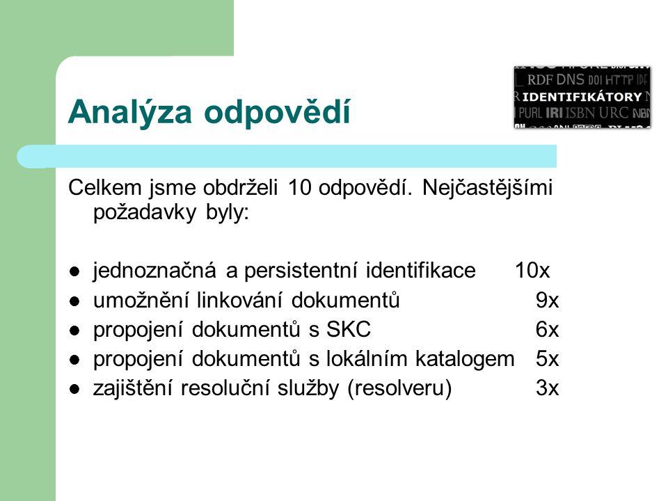 Analýza odpovědí Celkem jsme obdrželi 10 odpovědí. Nejčastějšími požadavky byly: jednoznačná a persistentní identifikace 10x umožnění linkování dokume