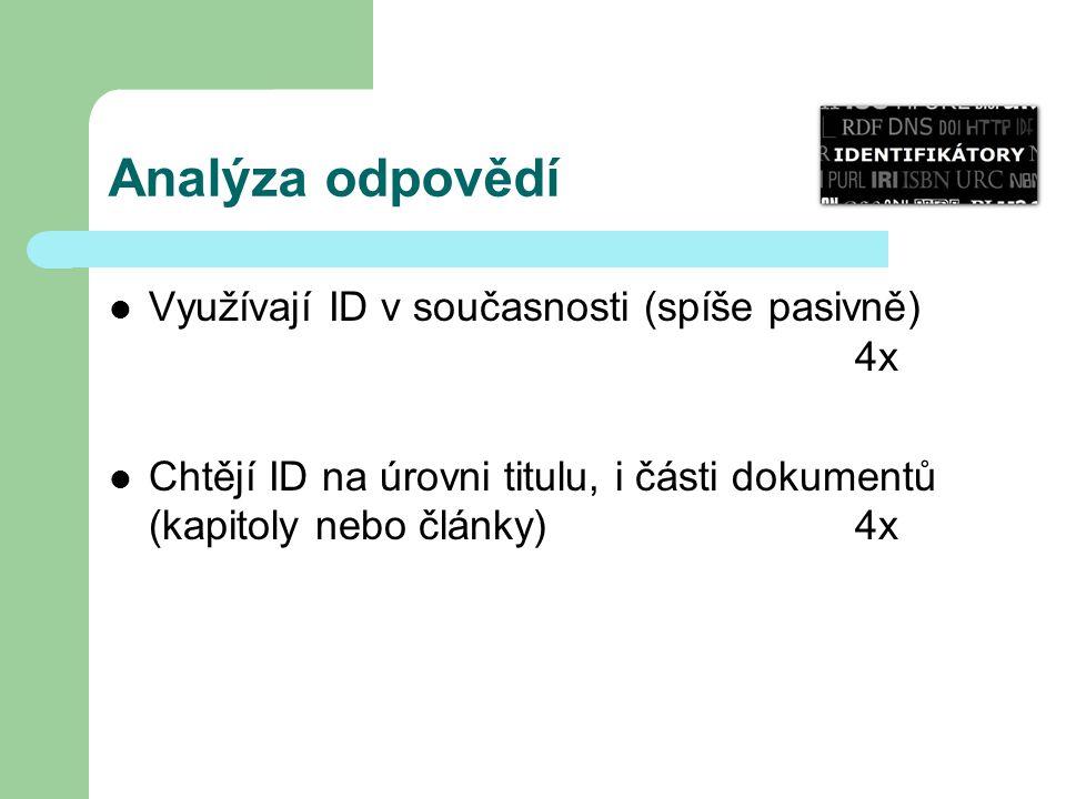 Analýza odpovědí Využívají ID v současnosti (spíše pasivně) 4x Chtějí ID na úrovni titulu, i části dokumentů (kapitoly nebo články) 4x
