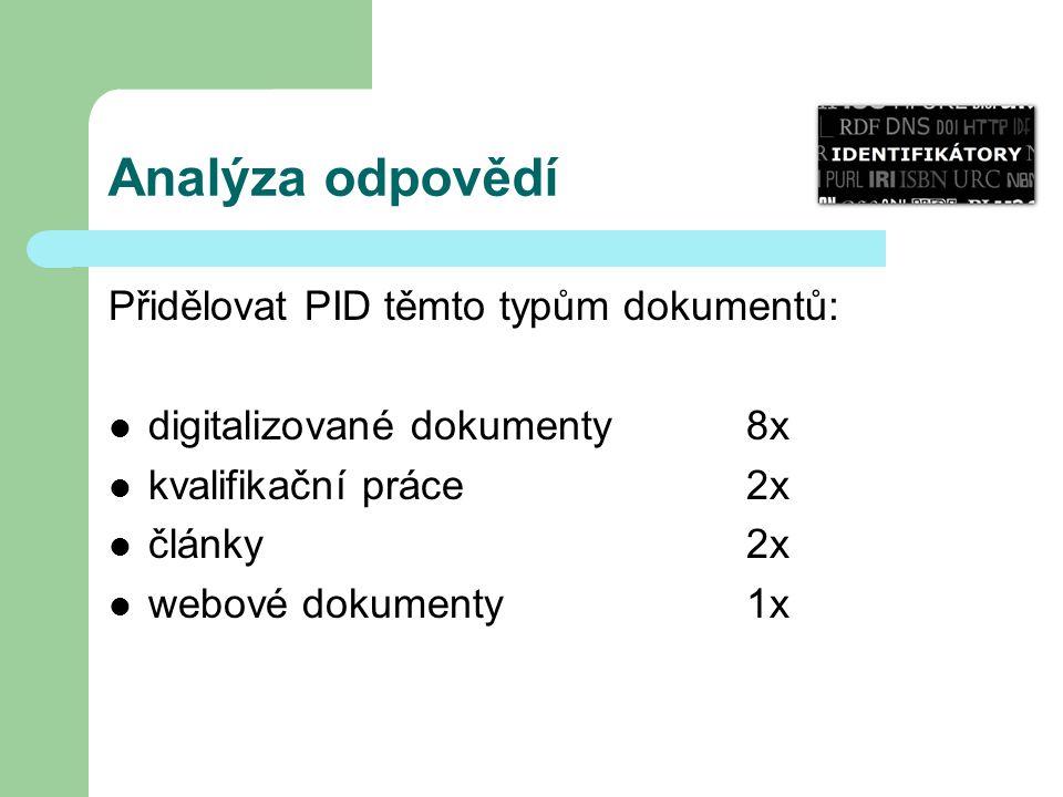 Analýza odpovědí Přidělovat PID těmto typům dokumentů: digitalizované dokumenty 8x kvalifikační práce 2x články 2x webové dokumenty 1x