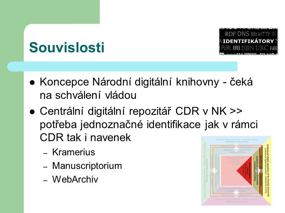 Souvislosti Koncepce Národní digitální knihovny - čeká na schválení vládou Centrální digitální repozitář CDR v NK >> potřeba jednoznačné identifikace jak v rámci CDR tak i navenek – Kramerius – Manuscriptorium – WebArchiv