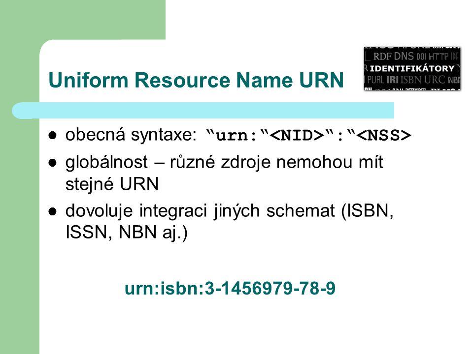 Uniform Resource Name URN obecná syntaxe: urn: : globálnost – různé zdroje nemohou mít stejné URN dovoluje integraci jiných schemat (ISBN, ISSN, NBN aj.) urn:isbn:3-1456979-78-9