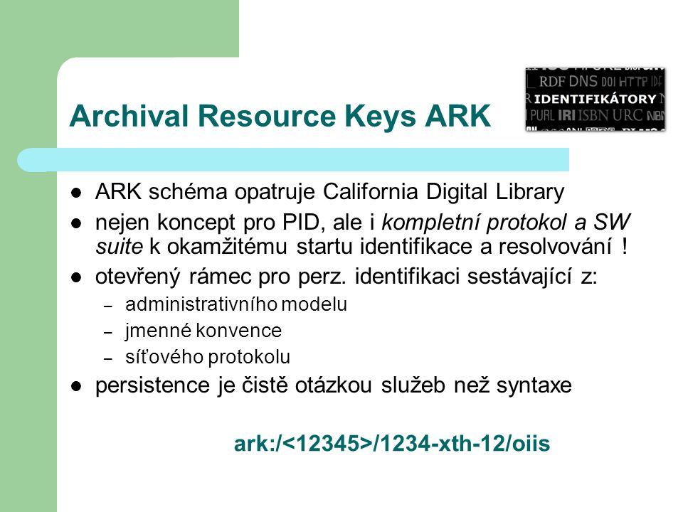 Archival Resource Keys ARK ARK schéma opatruje California Digital Library nejen koncept pro PID, ale i kompletní protokol a SW suite k okamžitému startu identifikace a resolvování .