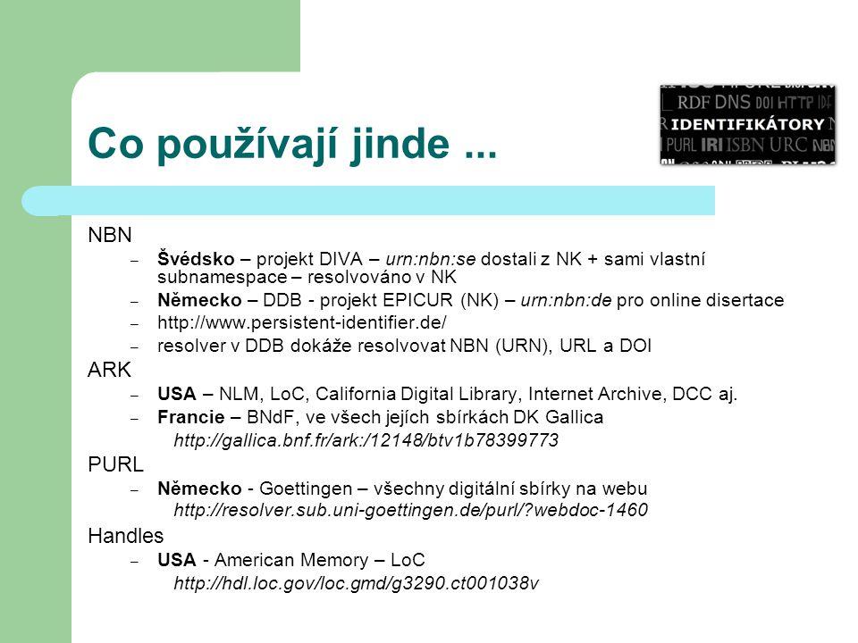 Co používají jinde... NBN – Švédsko – projekt DIVA – urn:nbn:se dostali z NK + sami vlastní subnamespace – resolvováno v NK – Německo – DDB - projekt