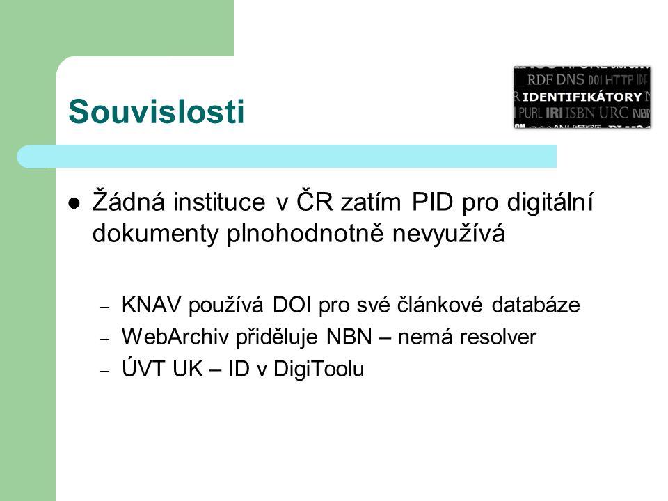 Souvislosti Žádná instituce v ČR zatím PID pro digitální dokumenty plnohodnotně nevyužívá – KNAV používá DOI pro své článkové databáze – WebArchiv přiděluje NBN – nemá resolver – ÚVT UK – ID v DigiToolu
