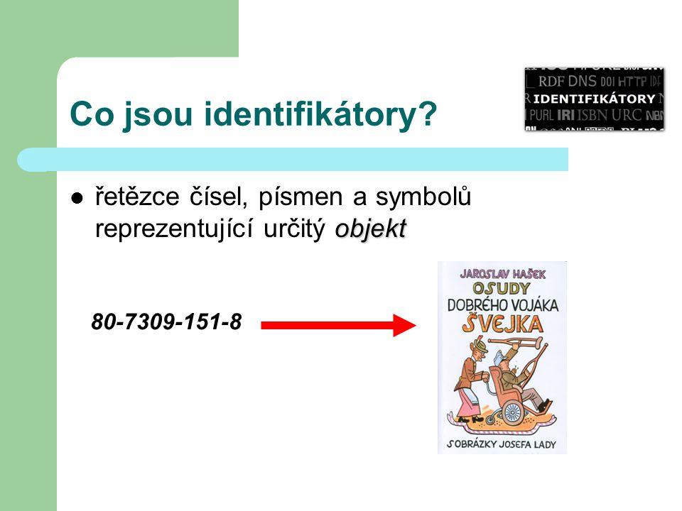 Co jsou identifikátory? objekt řetězce čísel, písmen a symbolů reprezentující určitý objekt 80-7309-151-8