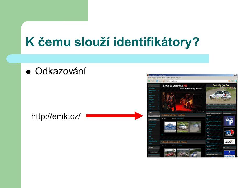 K čemu slouží identifikátory? Odkazování http://emk.cz/