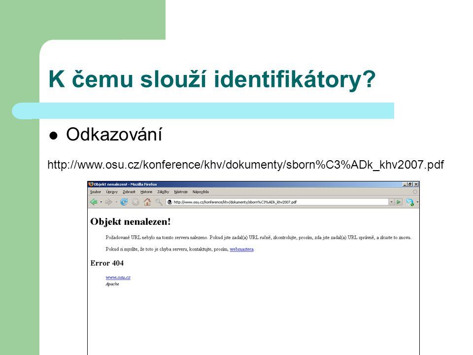 Typy a druhy PID Od 90tých let bylo představeno několik číselných schémat používajících name space name space – pro uložení jména a lokace dokumentu – ID jsou registrovány centrálně ID je resolvováno (tj.