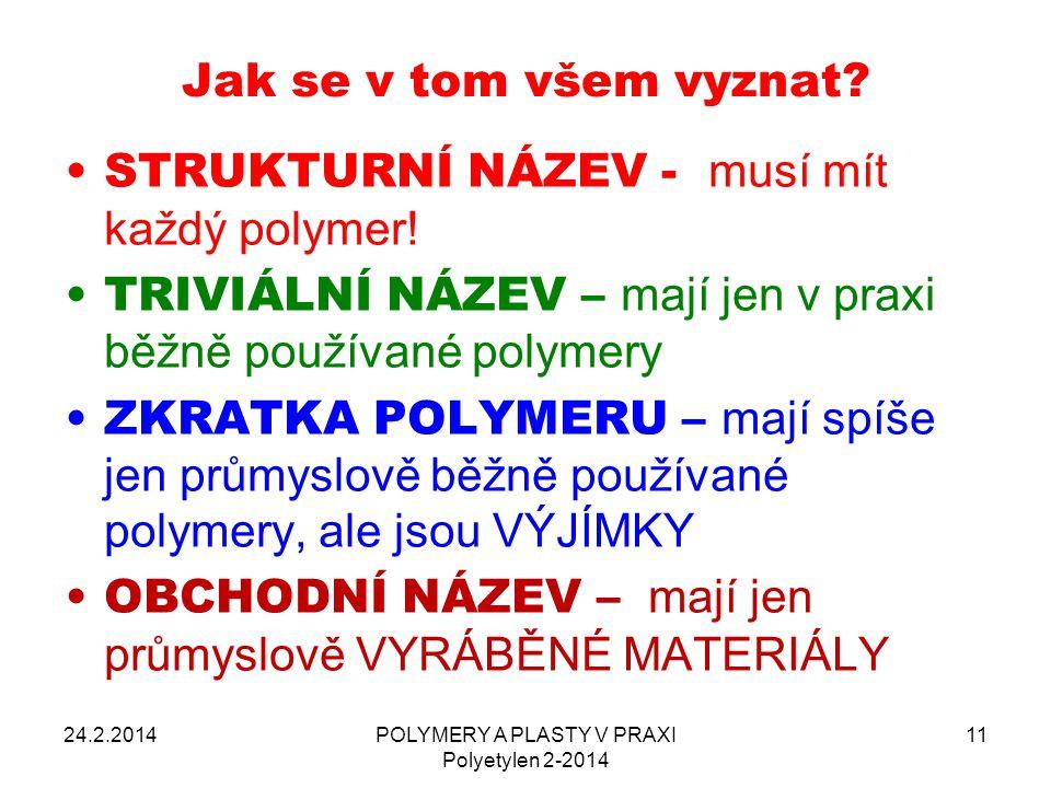 POLYMERY A PLASTY V PRAXI Polyetylen 2-2014 11 Jak se v tom všem vyznat? 24.2.2014 STRUKTURNÍ NÁZEV - musí mít každý polymer! TRIVIÁLNÍ NÁZEV – mají j