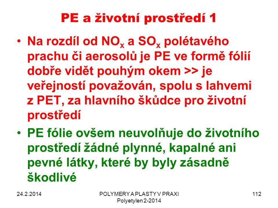 PE a životní prostředí 1 Na rozdíl od NO x a SO x polétavého prachu či aerosolů je PE ve formě fólií dobře vidět pouhým okem >> je veřejností považová