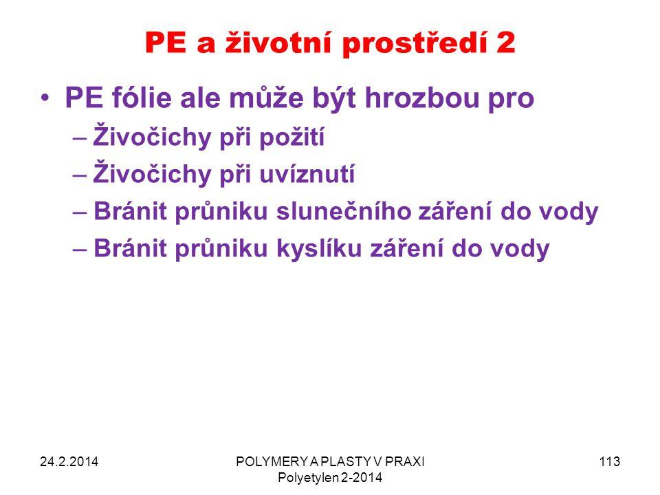 PE a životní prostředí 2 24.2.2014POLYMERY A PLASTY V PRAXI Polyetylen 2-2014 113 PE fólie ale může být hrozbou pro –Živočichy při požití –Živočichy p