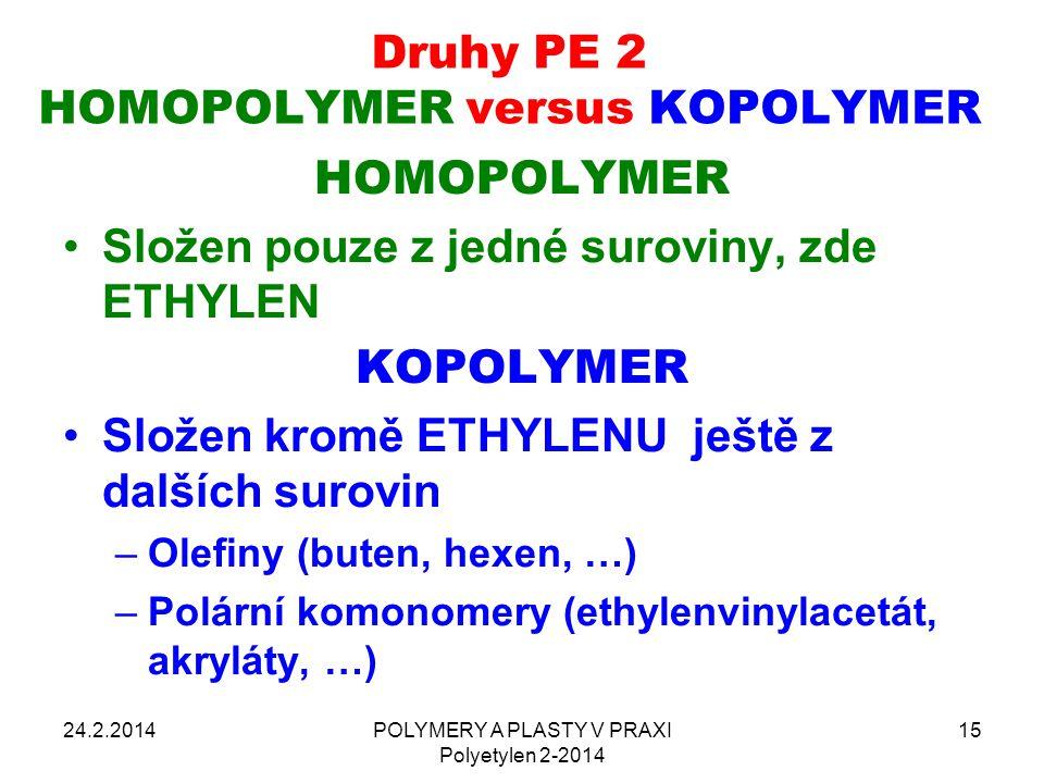 POLYMERY A PLASTY V PRAXI Polyetylen 2-2014 15 Druhy PE 2 HOMOPOLYMER versus KOPOLYMER 24.2.2014 HOMOPOLYMER Složen pouze z jedné suroviny, zde ETHYLE