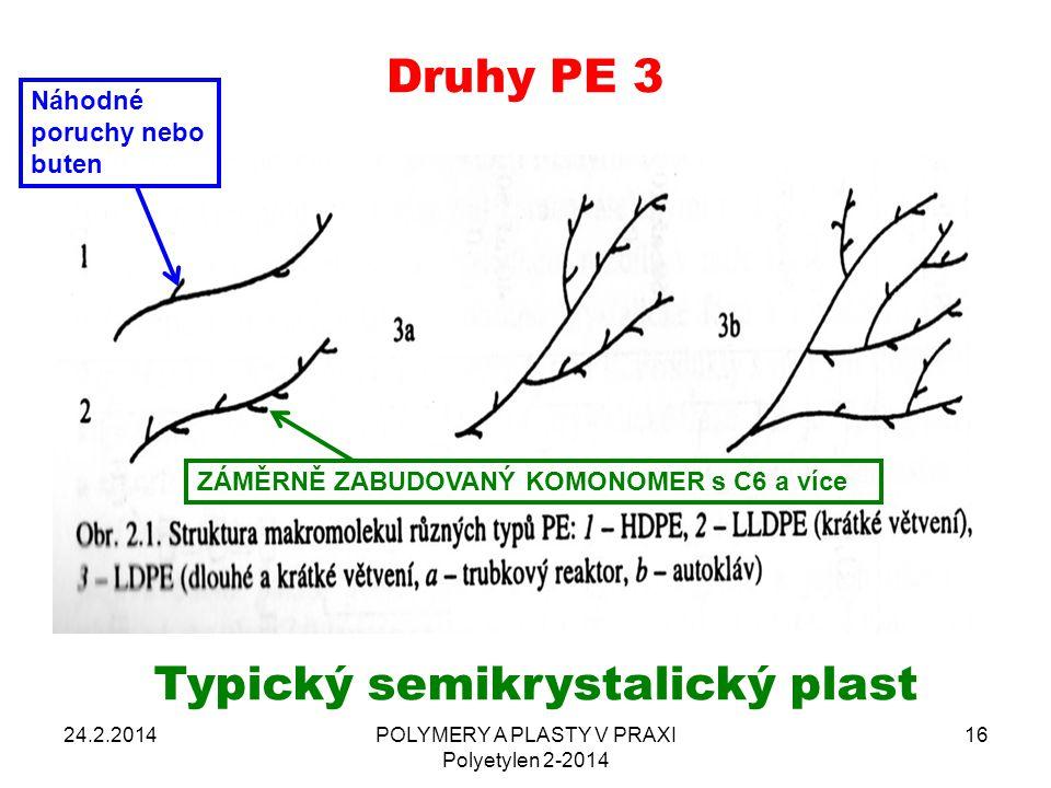 24.2.2014POLYMERY A PLASTY V PRAXI Polyetylen 2-2014 16 Typický semikrystalický plast Druhy PE 3 Náhodné poruchy nebo buten ZÁMĚRNĚ ZABUDOVANÝ KOMONOM