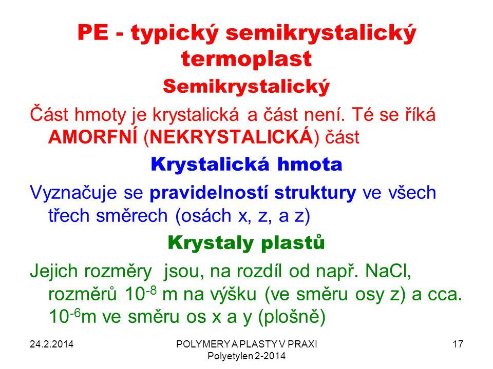 PE - typický semikrystalický termoplast Semikrystalický Část hmoty je krystalická a část není. Té se říká AMORFNÍ (NEKRYSTALICKÁ) část Krystalická hmo