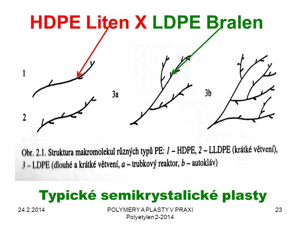 HDPE Liten X LDPE Bralen 24.2.2014POLYMERY A PLASTY V PRAXI Polyetylen 2-2014 23 Typické semikrystalické plasty