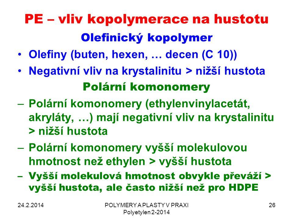 PE – vliv kopolymerace na hustotu 24.2.2014POLYMERY A PLASTY V PRAXI Polyetylen 2-2014 26 Olefinický kopolymer Olefiny (buten, hexen, … decen (C 10))