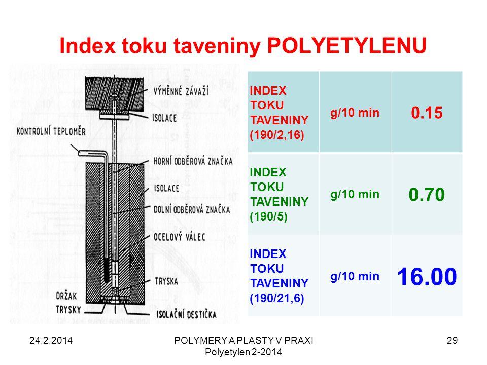 Index toku taveniny POLYETYLENU INDEX TOKU TAVENINY (190/2,16) g/10 min 0.15 INDEX TOKU TAVENINY (190/5) g/10 min 0.70 INDEX TOKU TAVENINY (190/21,6)