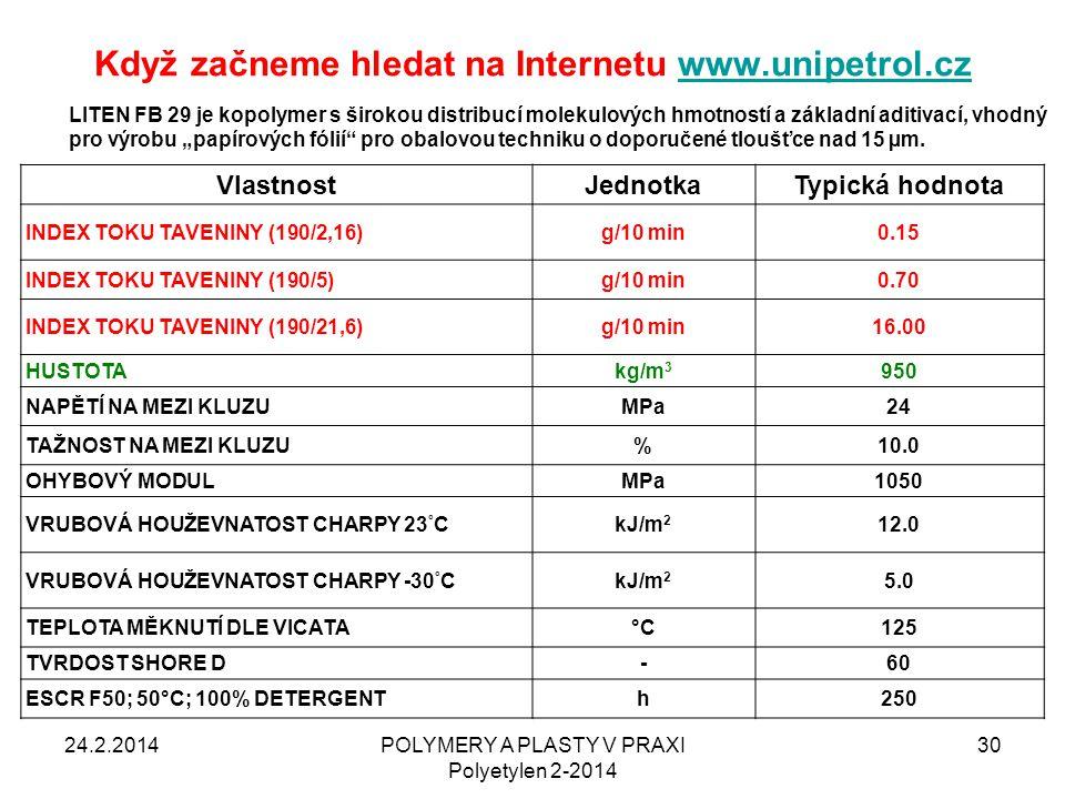 Když začneme hledat na Internetu www.unipetrol.czwww.unipetrol.cz 24.2.2014POLYMERY A PLASTY V PRAXI Polyetylen 2-2014 30 VlastnostJednotkaTypická hod