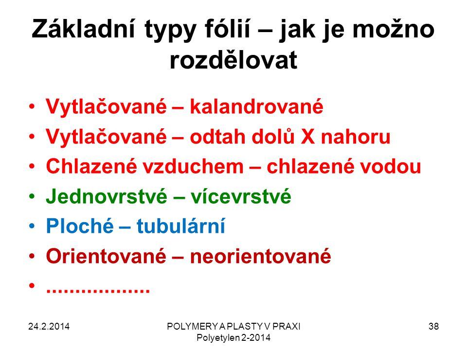 POLYMERY A PLASTY V PRAXI Polyetylen 2-2014 38 Základní typy fólií – jak je možno rozdělovat Vytlačované – kalandrované Vytlačované – odtah dolů X nah