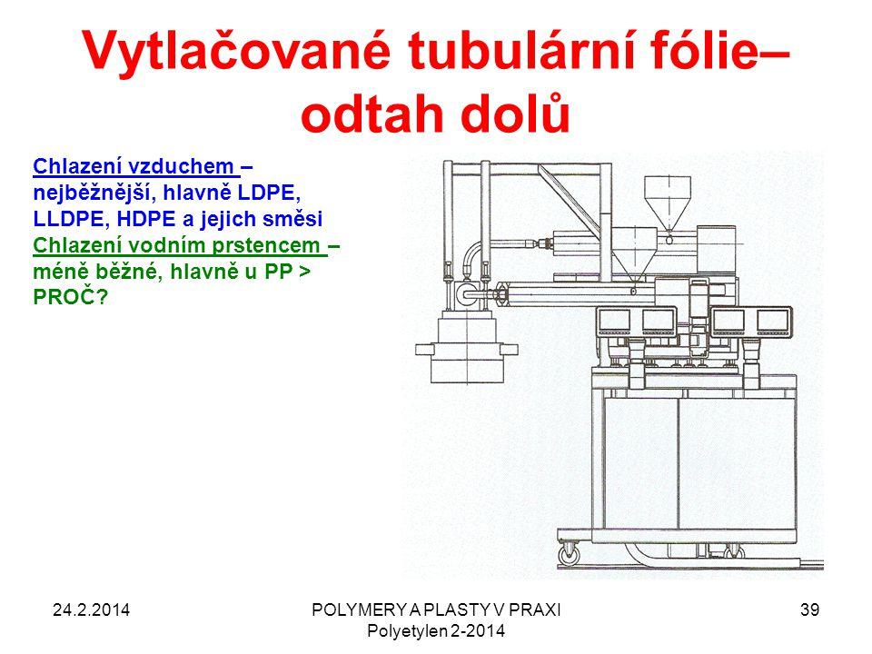 Vytlačované tubulární fólie– odtah dolů 24.2.2014POLYMERY A PLASTY V PRAXI Polyetylen 2-2014 39 Chlazení vzduchem – nejběžnější, hlavně LDPE, LLDPE, H