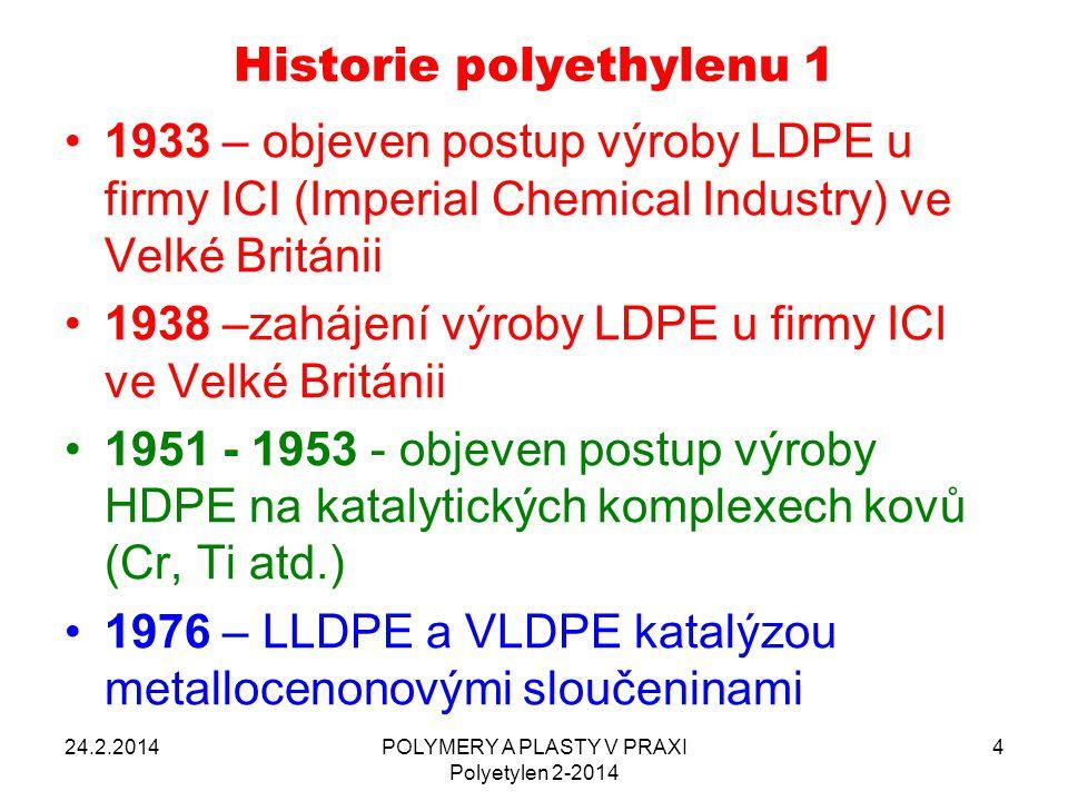 Historie polyethylenu 1 1933 – objeven postup výroby LDPE u firmy ICI (Imperial Chemical Industry) ve Velké Británii 1938 –zahájení výroby LDPE u firm