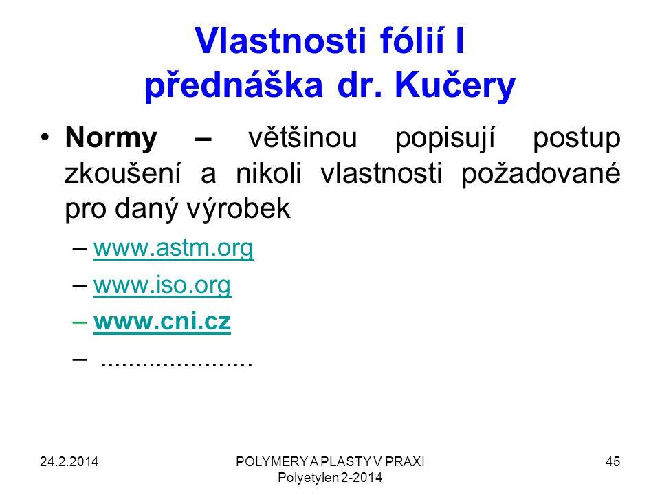 POLYMERY A PLASTY V PRAXI Polyetylen 2-2014 45 Vlastnosti fólií I přednáška dr. Kučery Normy – většinou popisují postup zkoušení a nikoli vlastnosti p