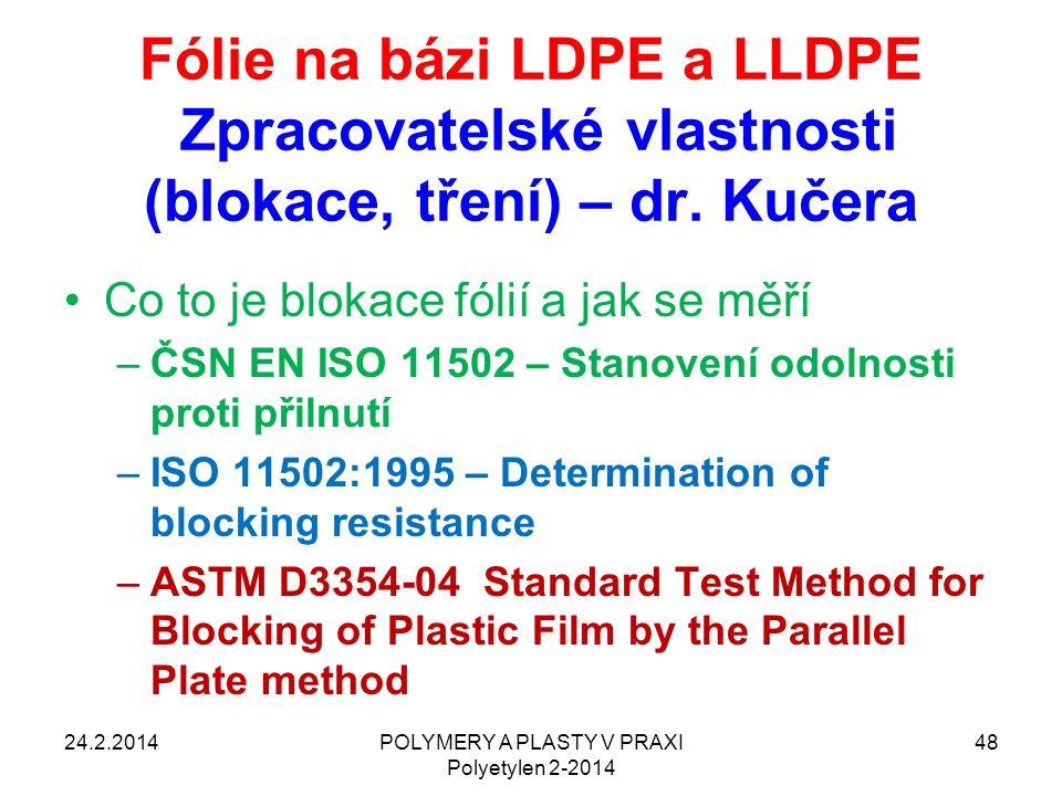 POLYMERY A PLASTY V PRAXI Polyetylen 2-2014 48 Fólie na bázi LDPE a LLDPE Zpracovatelské vlastnosti (blokace, tření) – dr. Kučera Co to je blokace fól