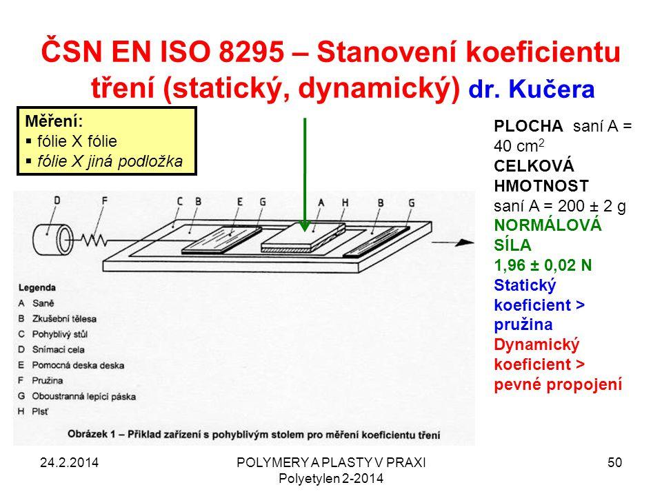 POLYMERY A PLASTY V PRAXI Polyetylen 2-2014 50 ČSN EN ISO 8295 – Stanovení koeficientu tření (statický, dynamický) dr. Kučera 24.2.2014 PLOCHA saní A