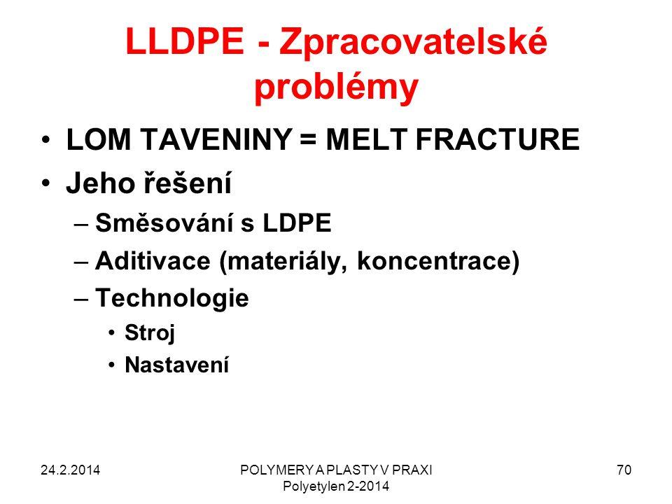 LLDPE - Zpracovatelské problémy LOM TAVENINY = MELT FRACTURE Jeho řešení –Směsování s LDPE –Aditivace (materiály, koncentrace) –Technologie Stroj Nast