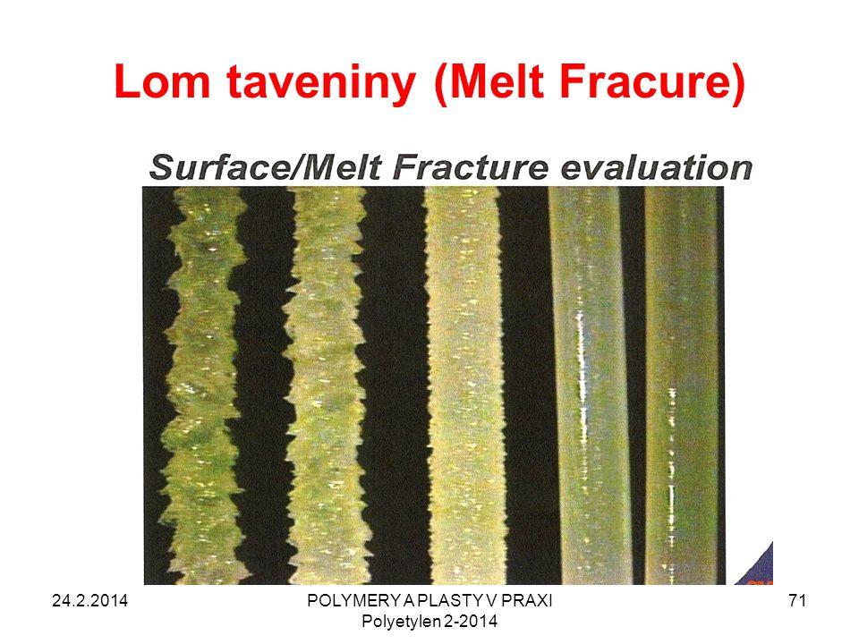 Lom taveniny (Melt Fracure) 24.2.2014POLYMERY A PLASTY V PRAXI Polyetylen 2-2014 71