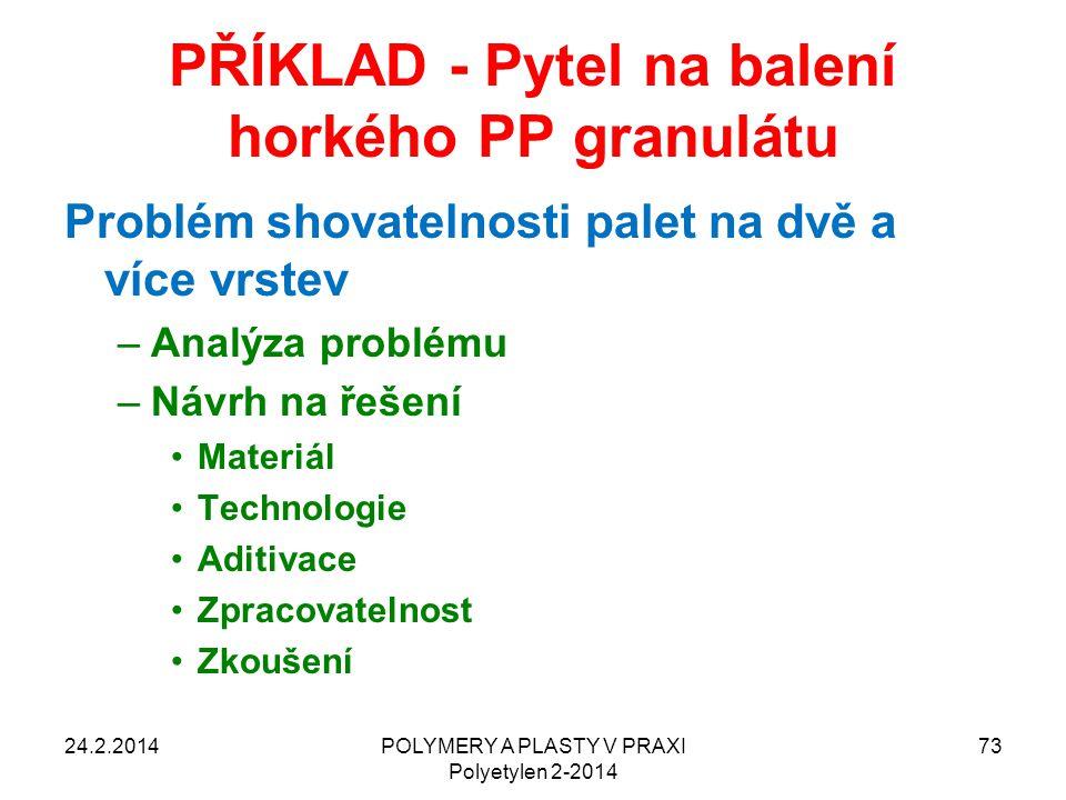 PŘÍKLAD - Pytel na balení horkého PP granulátu Problém shovatelnosti palet na dvě a více vrstev –Analýza problému –Návrh na řešení Materiál Technologi