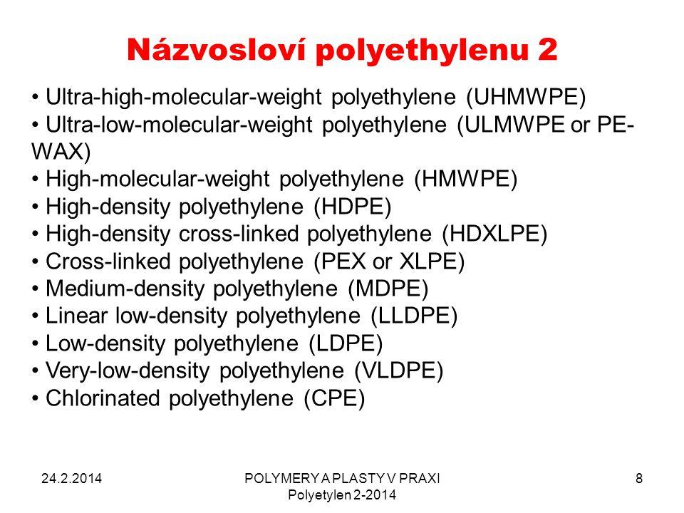 JEDNOTLIVÉ KROKY PROCESU 24.2.2014POLYMERY A PLASTY V PRAXI Polyetylen 2-2014 99 ÚPRAVA POVRCHU – u PE obvykle není potřeba, případně omytí vymigrovaných aditiv (týká se spíše desek) OHŘÁTÍ – pro fólie PE většinou PULZNĚ, 0,1 – 1,0 sec STLAČENÍ – 0,1 – 0,15 MPa MOLEKULÁRNÍ DIFŮZE – u PE fólií velmi krátká doba OCHLAZENÍ – závisí na tloušťce fólie, někdy chlazené kleště